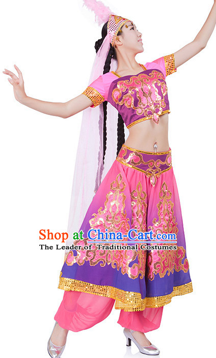 Chinese Xinjiang Dance Costume Wholesale Clothing Discount Dance Costumes Dancewear Supply and Headpieces for Women