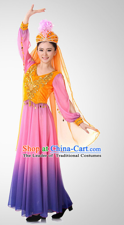 Xinjiang Folk Dance Costume Wholesale Clothing Discount Dance Costumes Dancewear Supply and Headpieces for Girls