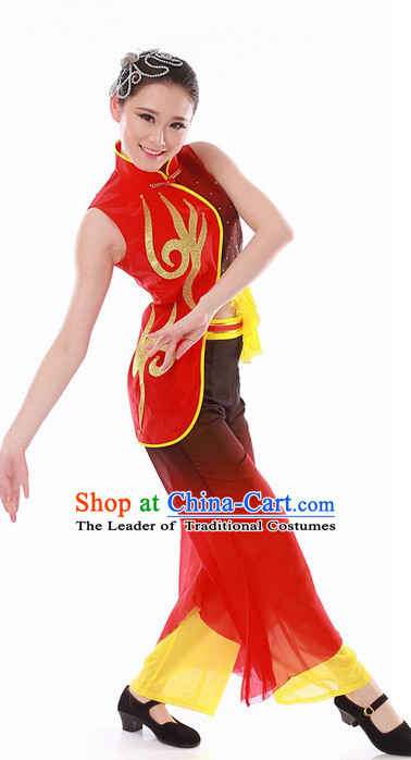 Chinese Folk Fan Dance Costume Wholesale Clothing Discount Dance Costumes Dancewear Supply for Women