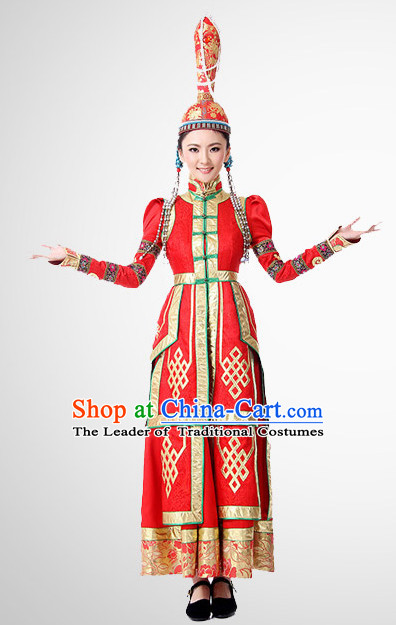 Chinese Folk Mongolian Clothes Costume Wholesale Clothing Group Dance Costumes Dancewear Supply for Women