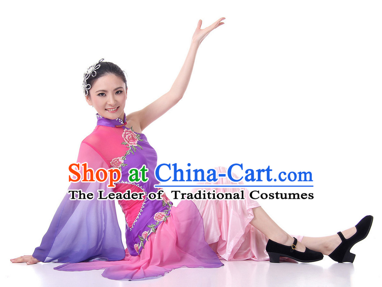 Chinese Folk Fan Dance Costume Wholesale Clothing Group Dance Costumes Dancewear Supply for Girls