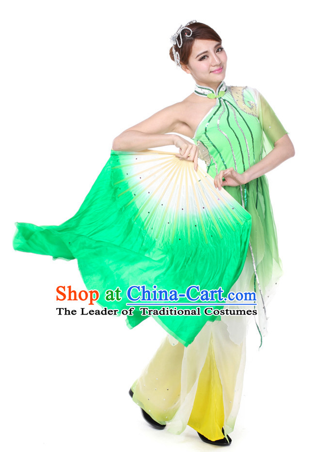 Color Transition Chinese Silk Dance Fan
