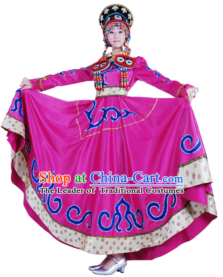 Chinese Mongolian Dance Costume Wholesale Clothing Group Dance Costumes Dancewear Supply for Lady