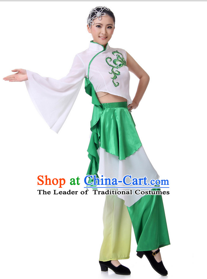 Chinese Fan Dance Costume Wholesale Clothing Group Dance Costumes Dancewear Supply for Lady