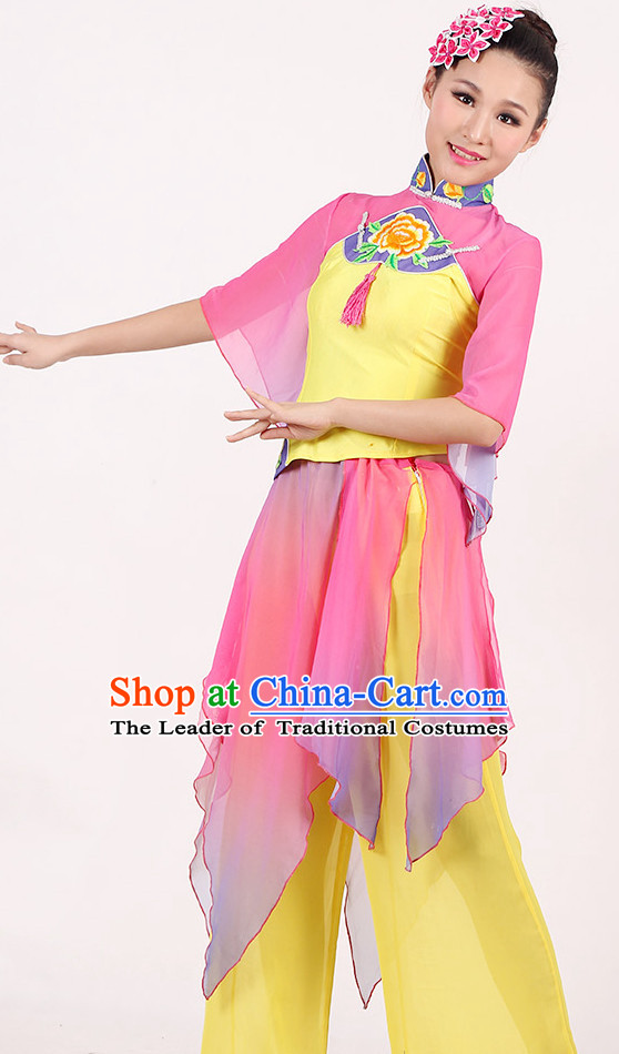 Asia Chinese Festival Parade Folk Fan Dance Costume and Headpieces for Women