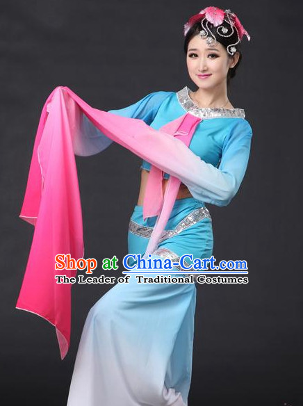 Chinese Classical Dance Costumes Leotards Dance Supply Girls Clothes and Hair Accessories Complete Set