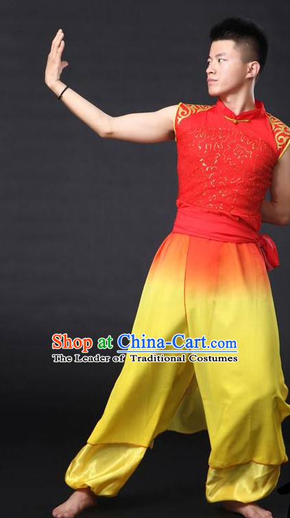Chinese Classical Male Dance Costumes Leotards Dance Supply Clothes Complete Set