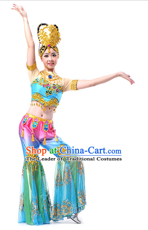Chinese Folk Ancient Dance Costume Wholesale Clothing Group Dance Costumes Dancewear Supply for Women