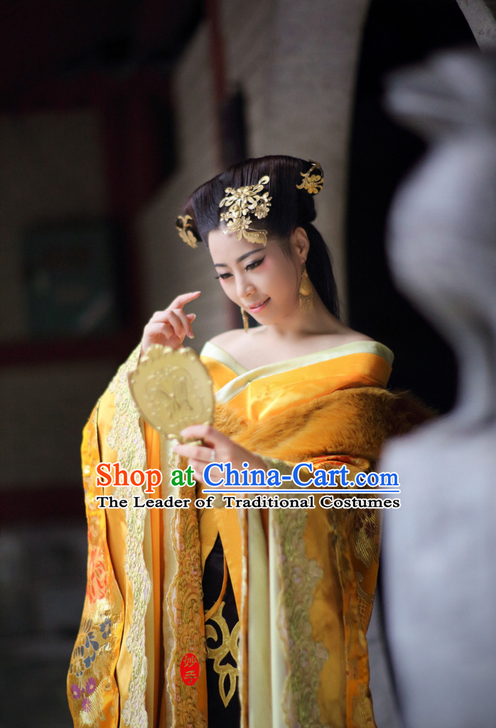 Shang Dynasty Chinese Myth Daji Su Da Ji Fox Spirit Fox Queen Costumes Chinese Costume and Hair Accessories Complete Set