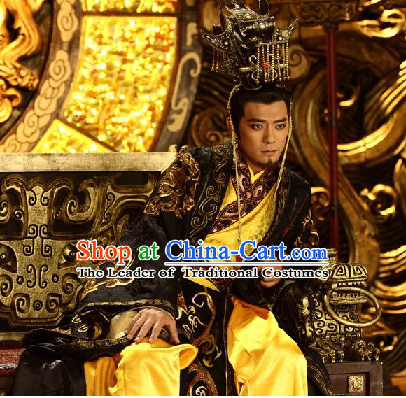 Chinese Shang Dynasty Emperor Costumes Chinese King Costume and Hat Complete Set