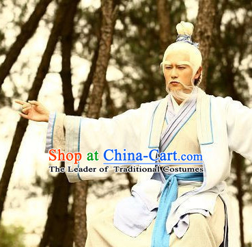Chinese Shang Dynasty Jiang Ziya The Supreme Strategist Jiang Taigong Costumes Chinese Costume Complete Set