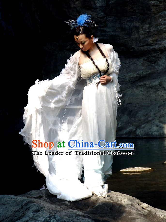 Ancient Chinese Style Xia Dynasty Nv Wa Nu Wa Costumes Mythology Legend Goddess Costume and Hair Jewelry Complete Set