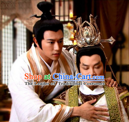 Ancient Chinese Shang Dynasty Men Black Wigs and Hair Jewelry