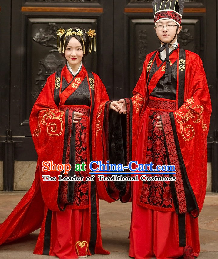 Western Zhou Dynasty Wedding Dress Clothing Clothes Garment and Hat for Men