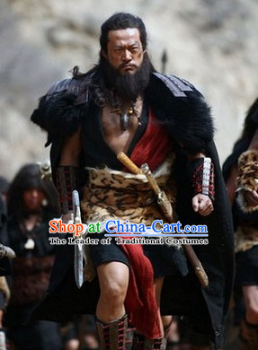 Ancient China Xia Dynasty Chiyou Tribal Leader Costume Chinese Ancient Costumes Complete Set