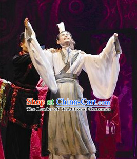 Eastern Zhou Dynasty Spring and Autumn Official Qu Yuan Stage Costume Complete Set for Men