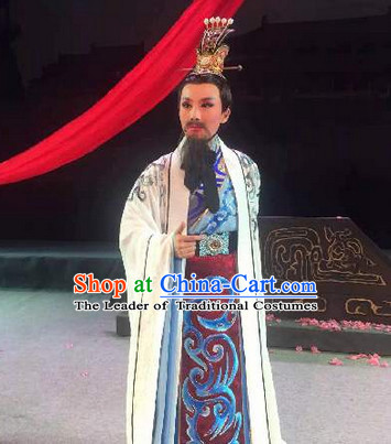 Eastern Zhou Dynasty Spring and Autumn Official Prime Minister Opera Chinese Costume Complete Set for Men
