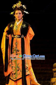 Eastern Zhou Dynasty Spring and Autumn Empress Chinese Stage Opera Costume and Hair Accessories Complete Set for Women
