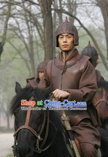 China Eastern Zhou Dynasty Palace Superhero Chinese Strategist Militarist Sunzi Sun Wu Costume Armor Suit Complete Set for Men