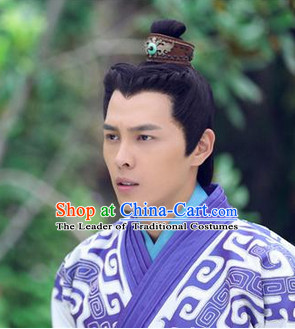 China Eastern Zhou Dynasty Prince Black Long Wigs for Men