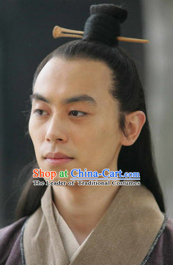 China Eastern Zhou Dynasty Sun Tzu Black Long Wigs for Men
