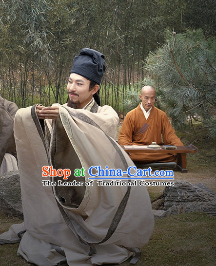 Chinese Costume Chinese Costumes National Garment Outfit Clothing Clothes Ancient Jin Dynasty Wang Xizhi Wang Hsi-chih Calligrapher Clothing for Men