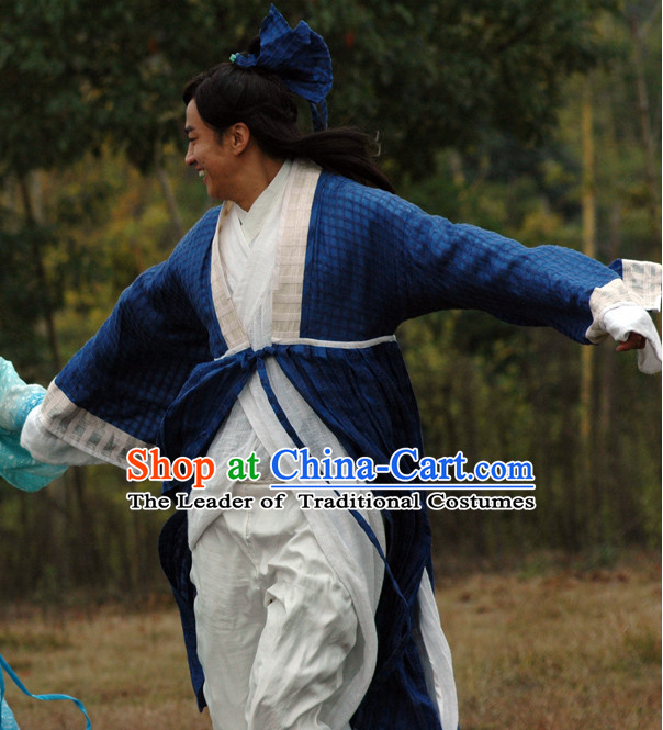 Chinese Costume Chinese Classic Costumes National Garment Outfit Clothing Clothes Ancient Jin Dynasty Liang Shanbo Costumes for Men