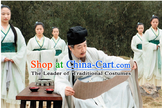 Chinese Costume Chinese Costumes National Garment Outfit Clothing Clothes Ancient Jin Dynasty Old Men Garment Outfits Dresses for Girls