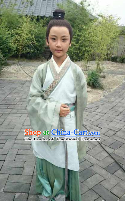 Chinese Costume Chinese Classic Costumes National Garment Outfit Clothing Clothes Ancient Jin Dynasty Students Suits for Kids
