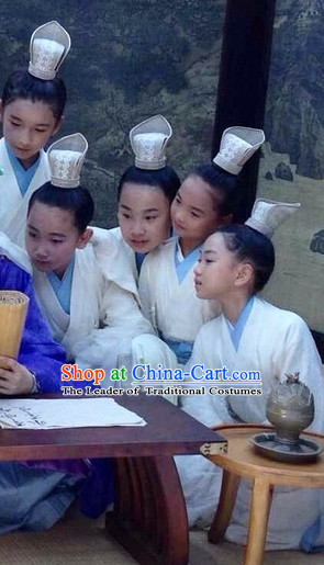 Chinese Costume Chinese Classic Costumes National Garment Outfit Clothing Clothes Ancient Jin Dynasty Student Suits for Kids