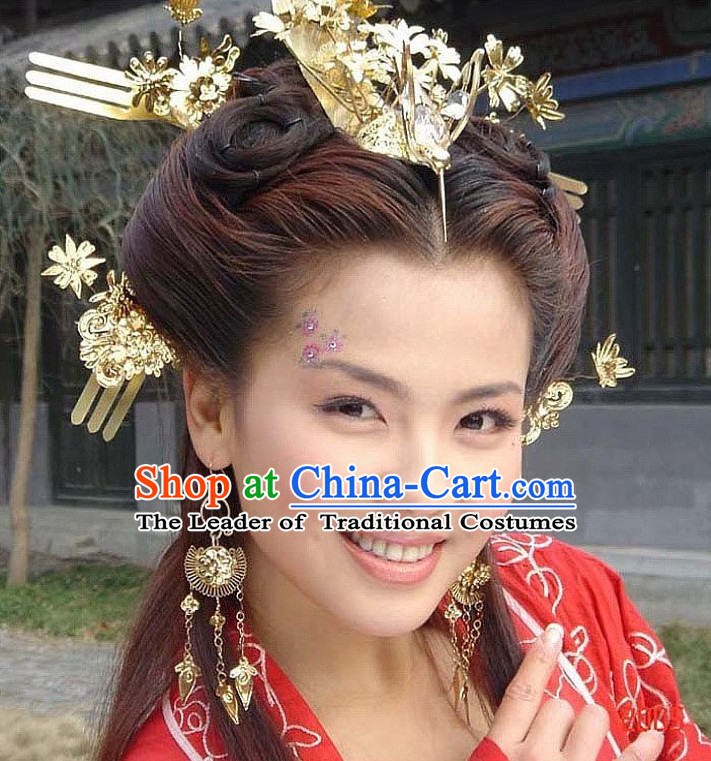 Chinese Ancient Palace Imperial Head Wear Headdress Five Dynasties Princess Hair Jewelry Hairpins