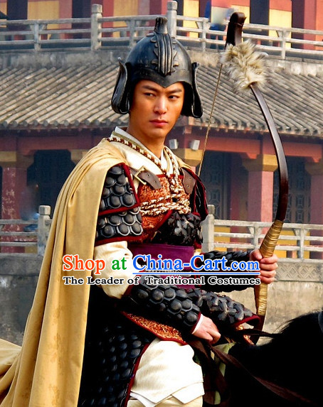 Chinese Costume Five Dynasties Chinese Classic Warrior Armor Costumes National Garment Outfit Clothing Clothes for Men