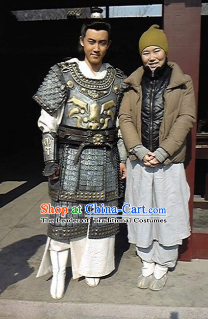 Chinese Costume Sui Dynasty Period Fighter Armor Costumes Complete Set for Men