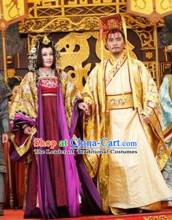 Chinese Costume Sui Dynasty Period Emperor and Empress Costumes China Clothing Complete Set for Men and Women
