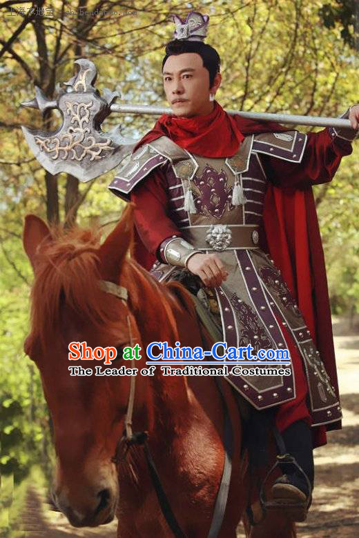 Chinese Costume Sui Dynasty Period Cheng Yaojin General Knight Body Armor Costumes Complete Set for Men