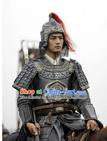 Chinese Costume Sui Dynasty Period Knight Warrior Body Armor Costumes Complete Set for Men