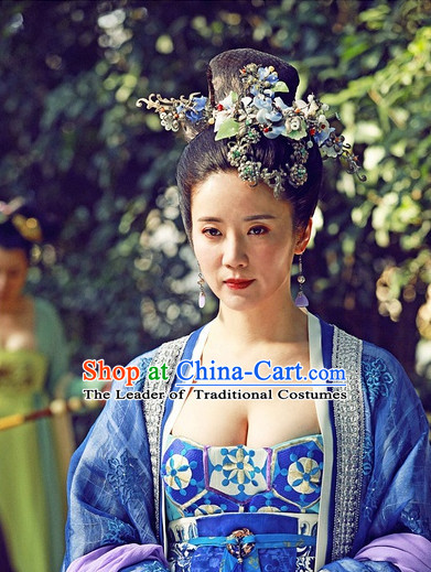 Chinese Tang Dynasty Queen Princess Wigs and Hair Accessorise Fascinator Headpieces Hair Sticks Hairpins Hair Clips Hair Ornaments for Women