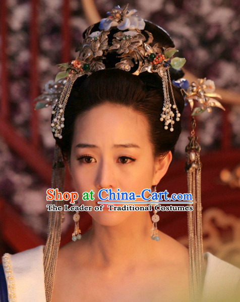 Chinese Tang Dynasty Imperial Queen Princess Wigs Hair Accessorise Fascinator Headpieces Hair Sticks Hairpins Hair Clips Hair Ornaments for Women