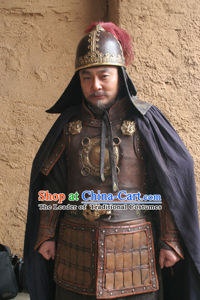 Ancient Chinese Tang Dynasty Costume Emperor Gaozu of Tang Armor Costumes and Hat Complete Set for Men