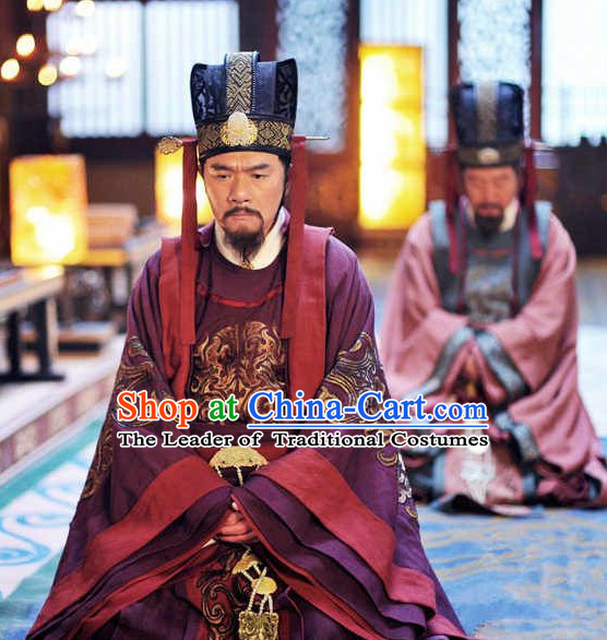 Ancient Chinese Tang Dynasty Duke Statesman Writer Chancellor Fang Xuanling Costume Complete Set for Men