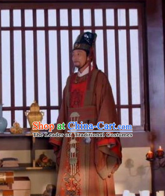 Ancient Chinese Tang Dynasty Statesman Historian Chancellor Duke Editor Wei Zheng Costume Complete Set for Men