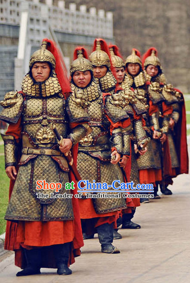 Tang Dynasty Chinese Military General Warrior Solider Body Armor Costumes Costume Complete Set for Men