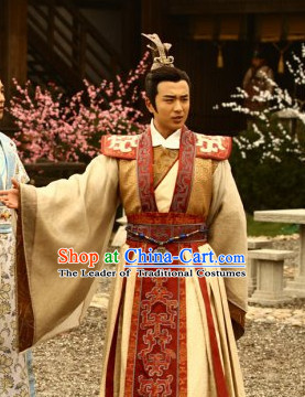 Ancient Chinese Costume Three Kingdoms Wedding Acomplished Poet and Prince Cao Pi and Hair Accessories Complete Set for Men