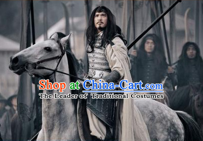 Three Kingdoms Chinese General Lu Su Fighter Knight Costume Costumes Clothing Clothes Garment Outfits Suits for Men