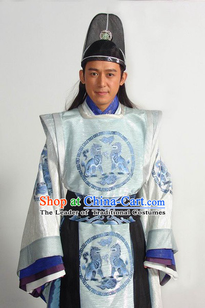 Tang Dynasty Official Superhero Costume Costumes Dresses Clothing Clothes Garment Outfits Suits Complete Set for Men