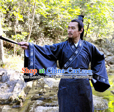 Song Dynasty Chinese Historian Scholar High Chancellor Sima Guang Costume Costumes Dresses Clothing Clothes Garment Outfits Suits Complete Set for Men