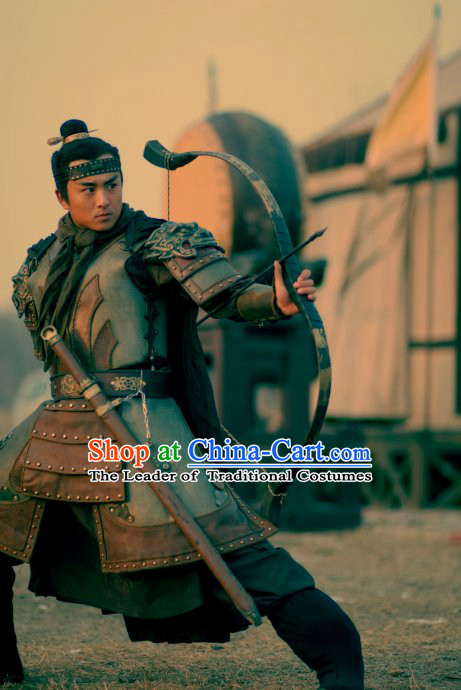 Song Dynasty Water Margin Superhero Suo Chao Costume Costumes Dresses Clothing Clothes Garment Outfits Suits Complete Set for Men