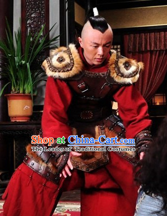 Yuan Dynasty General Costumes Dresses Clothing Clothes Garment Outfits Suits Complete Set for Men