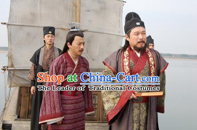 Ming Dynasty Official Yu Qian Costumes Dresses Clothing Clothes Garment Outfits Suits Complete Set for Men