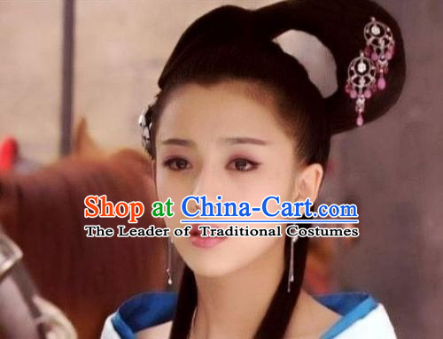 Chinese Han Dynasty Palace Beauty Wigs and Hair Accessories for Women